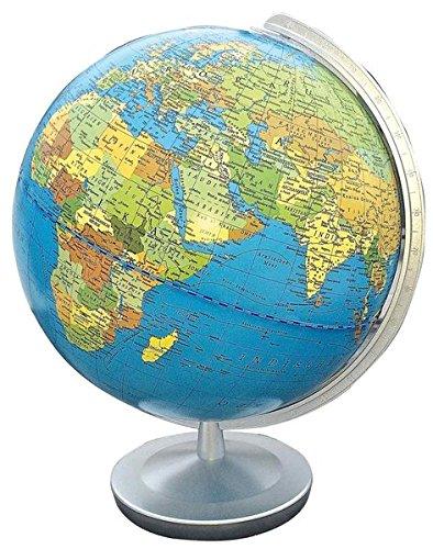 Terra Leuchtglobus, politisch/physisch: 26 cm Durchmesser, Fuß und Meridian Kunststoff silber (terra Globen)