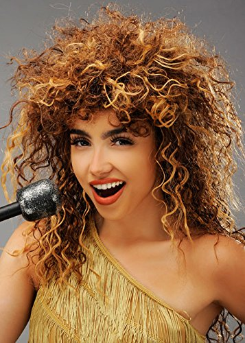 Magic Box Int. Damen 1980er Jahre Tina Turner Style Curly Brown Perücke