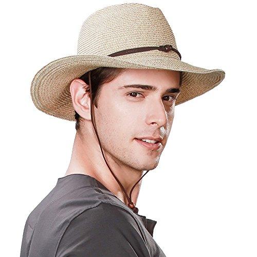 SIGGI Westernhut Cowboy Stroh Hut formbare Krempe mit Kinnriemen beige