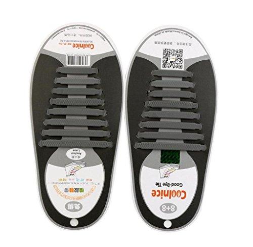 Amcool 16 Stk / Set Unisex Keine Krawatte Schnürsenkel Elastisches Silikon Schuh Schnürsenkel passen alle Sneakers Grau