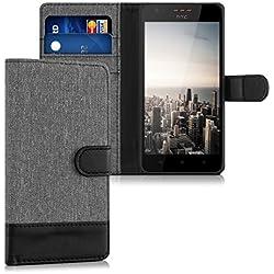 kwmobile Coque HTC Desire 530 Portefeuille - Étui à Rabat Simili Cuir pour HTC Desire 530 avec Compartiment Cartes Support