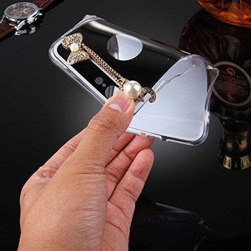 iPhone Case Cover Pour iPhone 7 Plus Electroplating Miroir TPU Housse de protection avec Diamond Encrusted Bowknot Chain Pendentif ( Color : Black ) Black