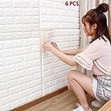 6 Stück 77X70cm 3D Ziegelstein PE-Schaum DIY Wand-Aufkleber Selbstklebendes Tapete, weißes Ziegelstein-Tapete, 3D Wand-Verkleidungen