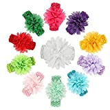 Fameza Multicolour Floral Flower Baby Head Bands (Pack of 10)