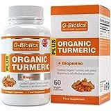 G-Biotics Certified Organic Turmeric Curcumin Capsules with added Bioperine (Black Pepper) Supplement - ON SALE NOW!