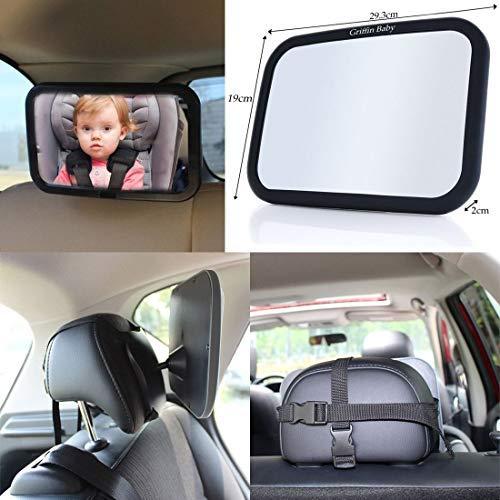 Wss–regolabile grande Baby/child Safety Car Mirror, per seggiolino per bambini, aumentare visibilità frontale, universale, facile da applicare e rimuovere