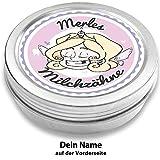 Milchzahndose | Zahnfee Zoe | personalisiert mit Namen | aus Metall | für Mädchen und für Jungs | Geschenk zur Einschulung, Taufe, Geburt