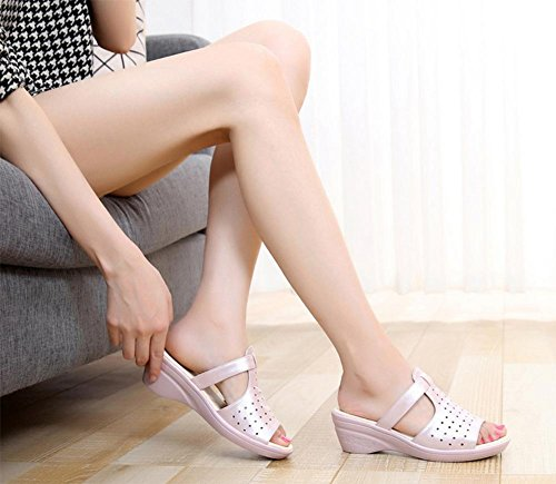 Sandalen und Pantoffel weiblicher Hang mit dicker Kruste Ms. Pantoffel Wort drag Pink