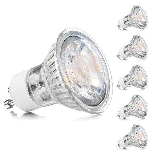Ascher 5er Pack GU10 COB LED Classic Lampe, Ersetzt 60W Halogenlampen (5W), 450 Lumen, Warmweiß (2900K), GU10 LED Birnen, Einbauleuchten, Schienenstrahler