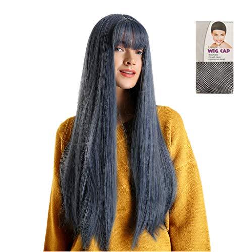 feiXIANG Synthétique Mix bleu Afro Droite Perruques Longues Longue DroiteFemmes Tressé Perruques Femme Style Naturel Perruque Synthétique Résistant à la Chaleur Long Cheveux Droite