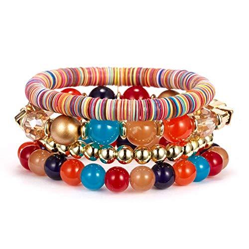 MHOOOA Trendy Naturstein Rot Weiß Schwarz Perlen Strang Armband Vintage Bunte Charme Runde Perlen Armbänder Schmuck Für Frauen Geschenk -
