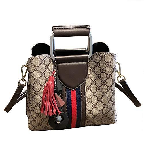 Landona Messenger Bag New Wave of Female Handbag Fashion Atmosphere Simplicity Broadband Ms. Shoulder Bucket Bag Big Bag - Brown