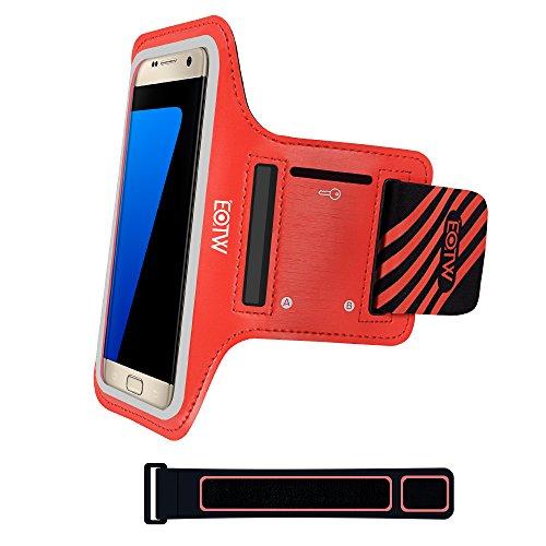 EOTW Sportarmband Handyhülle universell passend für Samsung Galaxy S7/S6/S5, Ideal für Sport, Freizeit aber auch in der Arbeit praktisch zu verwenden (5,1 Zoll, Rot)