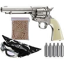 Outletdelocio. Pack Revolver perdigon Colt Peacemaker Gas C02. Calibre 4,5mm. 2 Julios + Gafas antivaho + Pañuelo cabeza decorado + Balines + Bombonas co2
