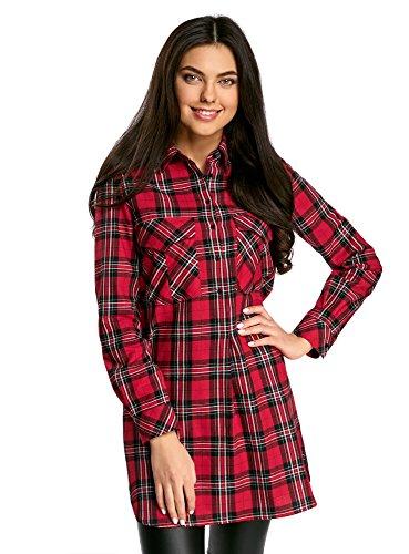 oodji Ultra Mujer Vestido Camisa con Bolsillos, Rojo, ES 36 / XS
