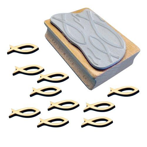 Petra\'s Bastel News A-SP34KF33 Set zum Kartengestalten Fische mit Ausschnitt bestehend aus 1 Stempel und 10 x Holzteil Fisch mit Ausschnitt 30mm