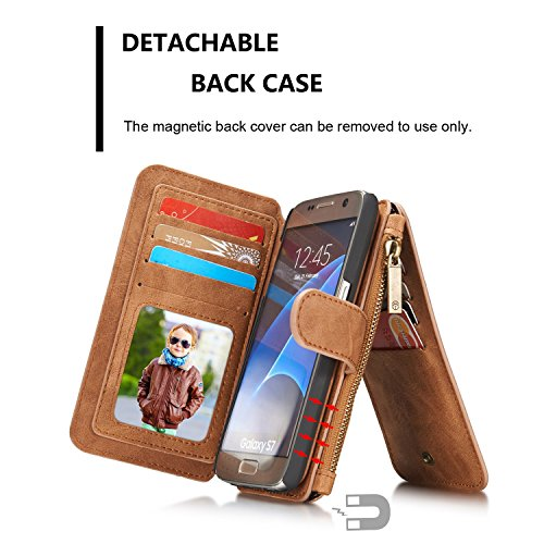 Wkae CaseMe abnehmbare Premium Leder Tasche, 13 Card Slots, 1 Foto Frame Reißverschluss Magnetische Bucht für Samsung Galaxy S7 Wallet Case, ( Color : Brown ) Brown