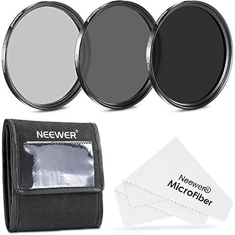 Neewer® 58MM Filtro de densidad neutra Kit(ND2 ND4 ND8) + Paño de limpieza de alta calidad de microfibra para Canon EOS Rebel 700D 650D 600D 550D 500D 450D 400D 350D 100D (T5i T4i T3i T2i T1i XSi XTi XT SL1)