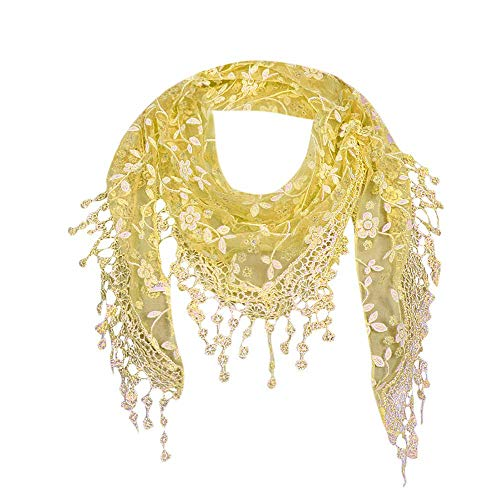 Bobopai Women Lace Sheer Floral Scarf Shawl Wrap Tassel New Ladies Women''s Colony Flamboyance of Solid Colour Travelling Touring Fringe Square Cotton Linen Stole Muffler - Bouquet Cookie Halloween Ideen
