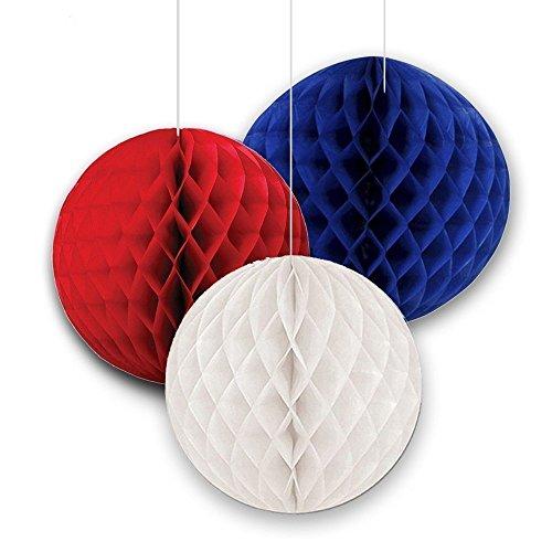 SUNBEAUTY 15/20 cm 6 pezzi piccolo decorativo della carta palle ape nido a forma di formato misto e colore misto, (rosso, bianco, blu marino)
