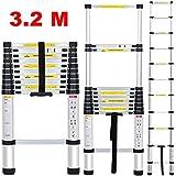 Finether Escalera Telescópica 320 11(EN131,11FT, Multi-propósito Extensible, Buena Calidad, Mayor Seguridad, Aluminio,Capacidad: 330 lb)