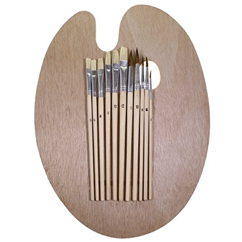artists-oval-wooden-painting-palette-with-12-high-quality-paintbrushes-by-curtzy-tm