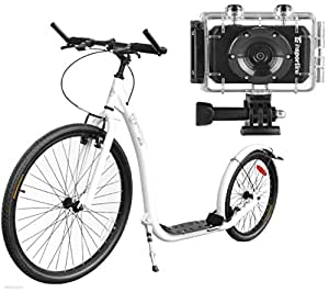 """Scooter Master 26""""/20"""" Roller Blanc + Action Cam Appareil photo 5Mpx, City Roller"""