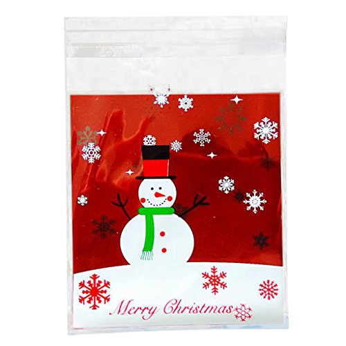 MagiDeal 100 Xmas Snowman Bakery Cookie Candy Gift Soap Favor Cello Adhesive OPP Bag