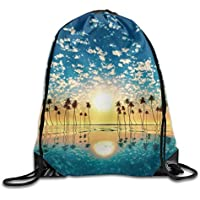 HLKPE Coconut Tree Drawstring Backpack Rucksack Shoulder Bags Training Gym Sack For Man and Women
