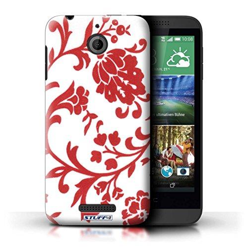 Kobalt® Imprimé Etui / Coque pour HTC Desire 510 / Fleurs Pourpre conception / Série Motif floral Fleurs Rouge