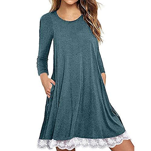 Kleider Damen Pullover Kleid Bluse Elegant Lose Langarm Einfaches Beiläufiges Strickkleid Viskose Jersey Stretch Skaterkleid, Baumwollspitze T-Shirt Kleid mit Taschen(Blau,XXX-Large)