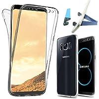 JIREH Funda Samsung Galaxy S8 ,Carcasa Galaxy S8 Silicona 360 Grados Integral 2 Partes Completa Ultra Slim TPU Accesorios Entera Resistente Protección Gel Anti Golpes frontales Y Traseros - Transparente + soporte de movil.