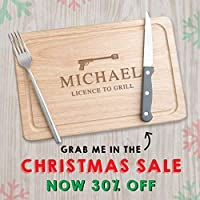 Novelty Christmas gifts for men man him dad - personalised Wooden Chopping Board - funny xmas present idea - James Bond Birthday - 'Licence to Grill' - 30x20cm