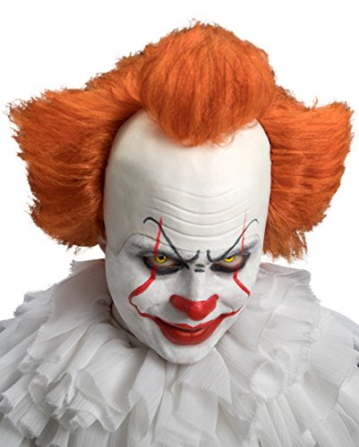 Horror Clown Perücke mit weißer Stirnglatze & orangefarbenen Haar (Weiße Perücken)