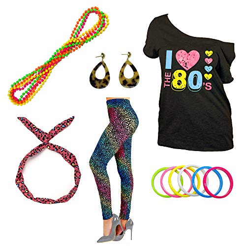 1980s Outfit Set with Off Shoulder Tee, Animal Print Leggings...