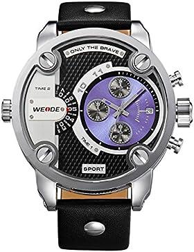 Alienwork DualTime Quarz Armbanduhr Multi Zeitzonen Quarzuhr Uhr XXL Oversized blau schwarz Leder OS.WH-3301-4