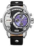Alienwork DualTime Quartz Watch Multi Time Zones Wristwatch XXL Oversized Leather blue black OS.WH-3301-4