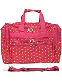 World Traveler Pink Green Polka Dots Duffle Bag 16-inch