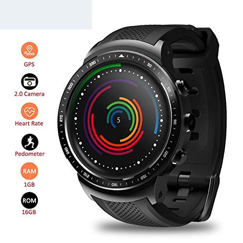 LQQZZZ wasserdichte Smart Watch, GPS Smart Watch Herzfrequenzüberwachung 1GB1.53 Zoll WiFi Bluetooth Watch Smart 4.0 Wearable Device Hochauflösende Satelliten-fotos