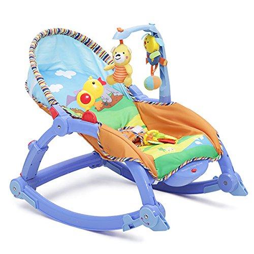 Babywippe, Stuhl Rocker 2 in 1 mit Vibration (Blau)