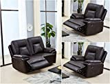 SC Furniture Ltd Brown High Grade Leather Gel 2 Seater Recliner Sofa + 2 Reclining Armchairs Sofa Suite ROCKFORD (2+1+1)