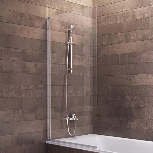 Schulte Duschwand Berlin, 70x120 cm, 5 mm Sicherheitsglas klar, alu-natur, Duschabtrennung für Badewanne