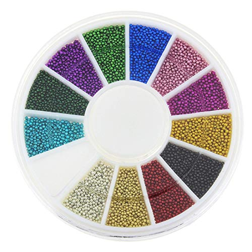 12 Color Nail Tools Steels Beads Espárragos para uñas Metal Caviar Design Encantos de las ruedas Decoraciones 3D Nail Art Supplies