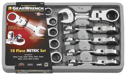 GearWrench 955010Stück Metrisches Stubby flex-head Kombination Ratschenschlüssel Set -