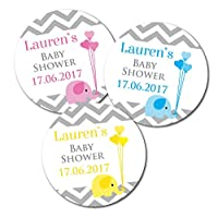Personalised baby shower stickers, baby elephant and chevron design, stickers are 60mm diameter, available in Blue, Pink or Yellow - packs of 24