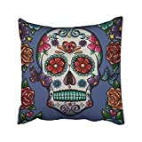 Lepilo Sugar Skull Pillow Cushions Case Throw Pillow Cover Sofa Home Decorative Pillowslip Gift Ideas Household Pillowcase Zippered Pillow Covers 18X18Inch
