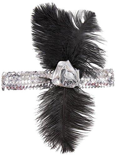 Widmann 2627N - Charleston-Stirnband für Damen mit silber (Jahre Ideen Kostüme 1920er)
