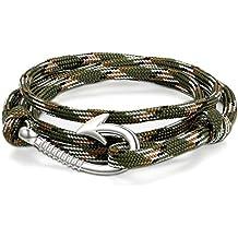 Jewelrywe Joyería Pulseras de Gancho Marino Marinero, Cuerda de Nailon Cómodo Ligero, Brazalete de Moda, Pulsera Militar Camuflaje de Hombre Mujer, Pulseras Para El Verano 2017