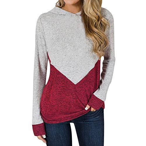 (Yanhoo Damen Pullover Pulli Strick Herbst Winter Patchwork Langarm T-Shirt Rundhals Sweatshirt Sport Lässig Oberteile)