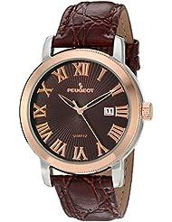 Reloj de los hombres es de dos tonos de color marrón de la correa de cuero del reloj del calendario de
